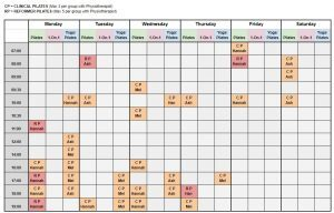 Pilates Camberwell Timetable