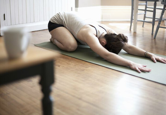Child's pose for lower back pain